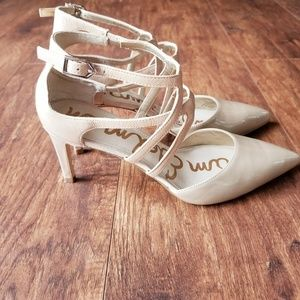Sam Edelman Nude Crisscross Pointed Toe Heels